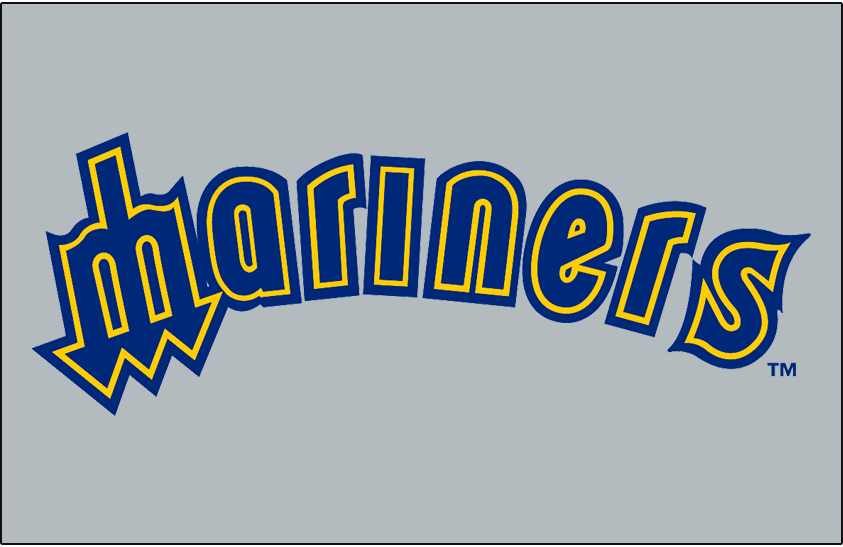 Seattle Mariners Logo Jersey Logo (1985-1986) - Mariners in blue with yellow and blue outlines arched on grey. Worn on Seattle Mariners road jerseys in 1985 and 1986 SportsLogos.Net