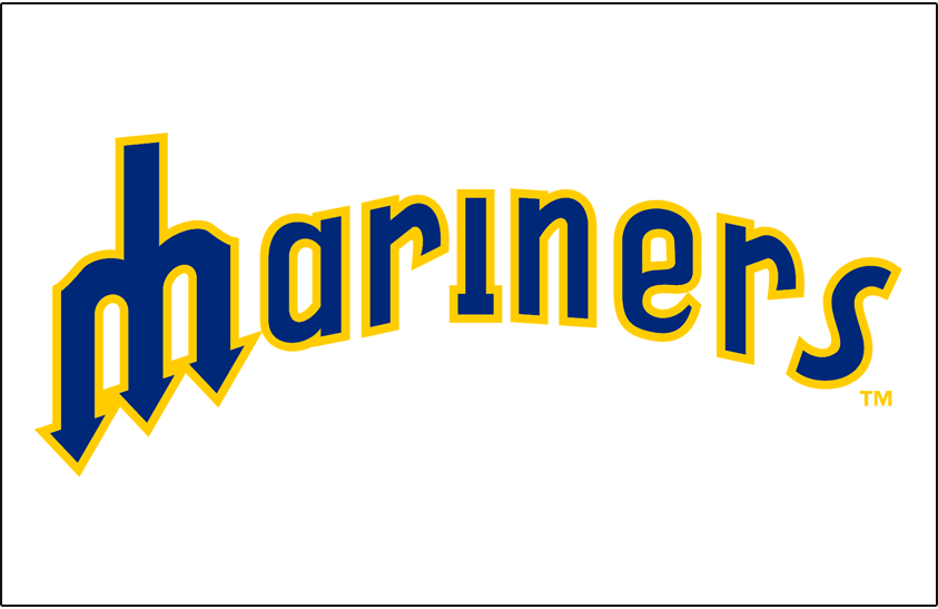 Seattle Mariners Logo Jersey Logo (1977-1980) - Mariners in blue outlined in yellow on white, worn on Mariners home jerseys from 1977 through 1980 SportsLogos.Net