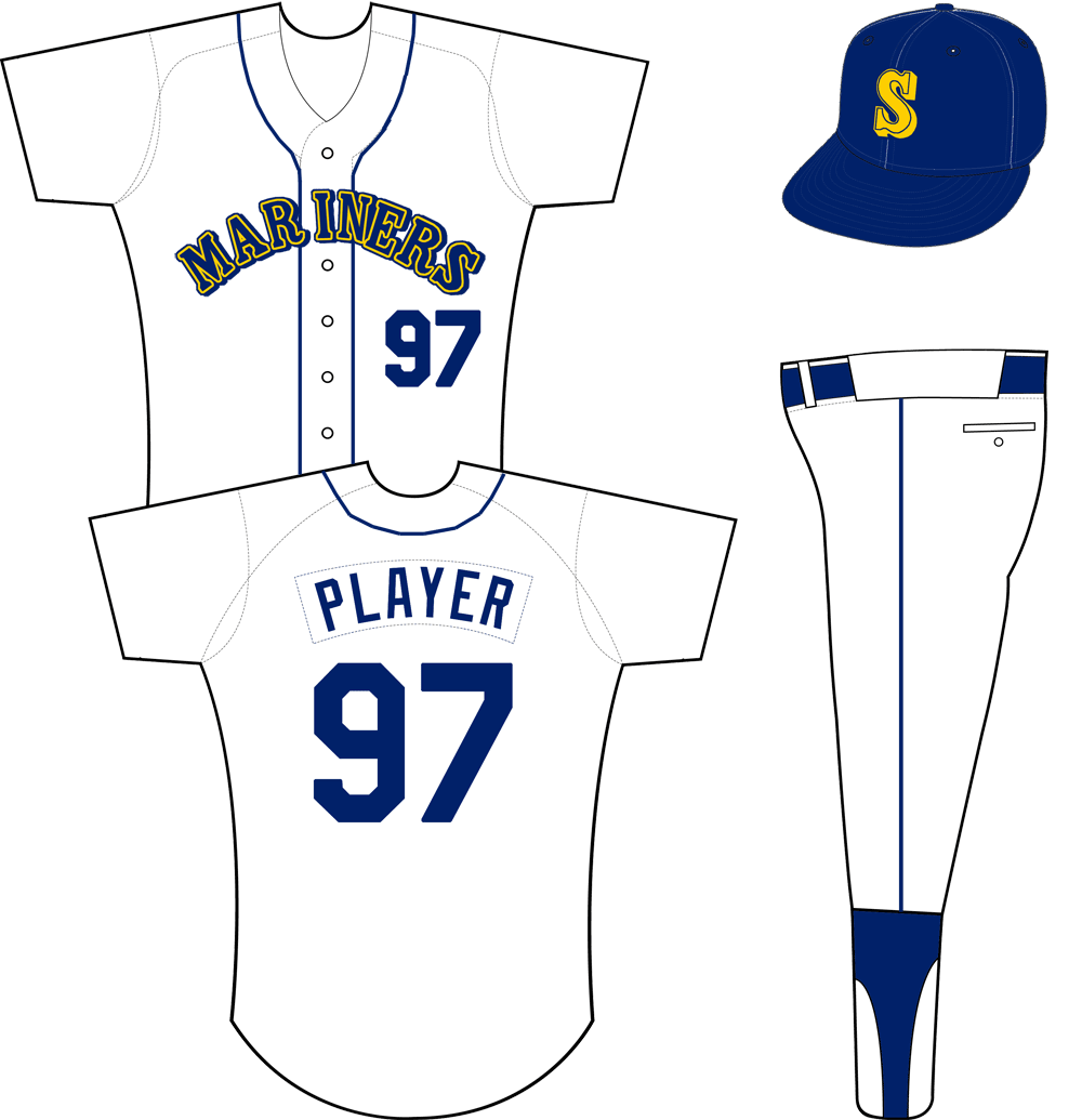 Seattle Mariners Uniform Home Uniform (1987-1992) - Mariners arched in blue, yellow, and blue on a white jersey with blue piping down the front, a blue cap with yellow S on the front worn with this uniform. Player name and number are single colour blue SportsLogos.Net