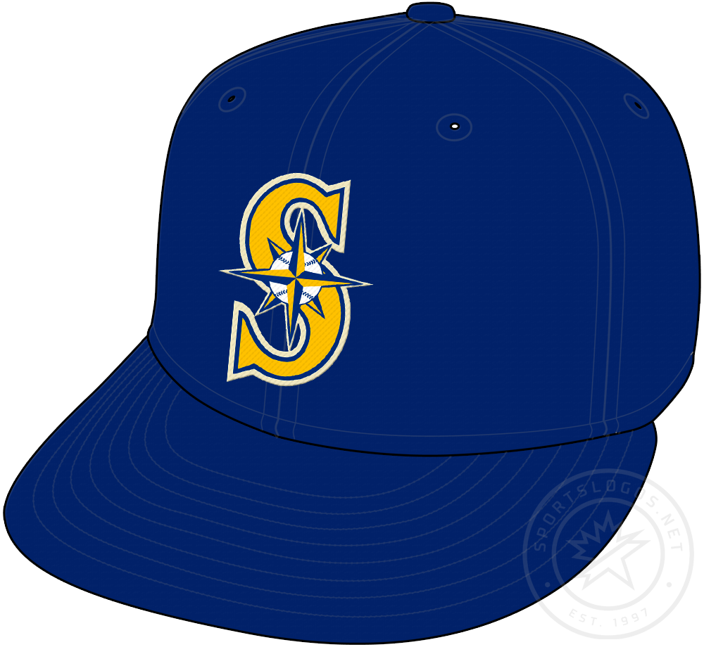 Seattle Mariners Cap Cap (2015-Pres) - A retro-coloured version of the Mariners 1993 identity, blue and yellow to represent original colours of the franchise, worn as a Sunday home alternate cap with a cream coloured uniform starting in 2015 SportsLogos.Net