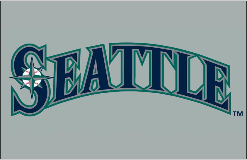 Seattle Mariners Logo Jersey Logo (2015-Pres) - Seattle in blue, silver, and teal on white. Trim colour changed from version used 2001-2014. Worn on Seattle Mariners road jersey starting in 2015 SportsLogos.Net