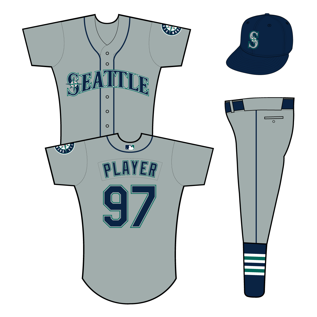 Seattle Mariners Uniform Road Uniform (2015-Pres) - Seattle in navy with white and green outlines on a grey uniform with navy piping, primary logo patch on left sleeve SportsLogos.Net