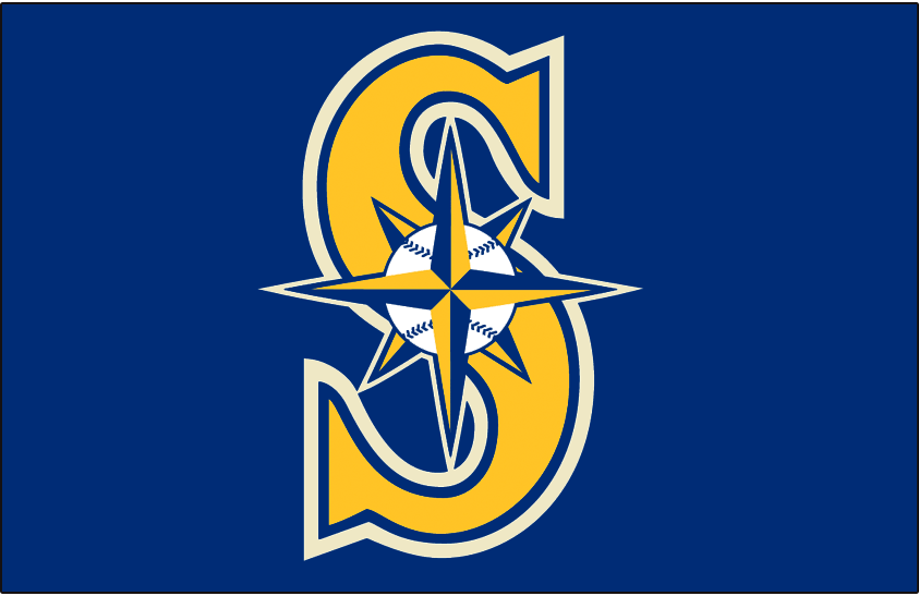 Seattle Mariners Logo Cap Logo (2015-Pres) - Primary cap logo recoloured in blue, yellow, and cream. Worn on Seattle Mariners Sunday home alternate cap beginning with the 2015 season SportsLogos.Net