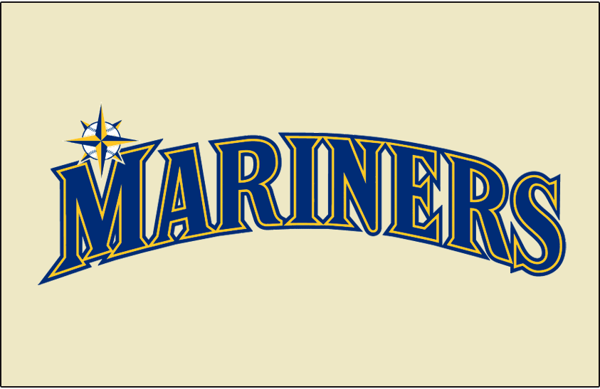 Seattle Mariners Logo Jersey Logo (2015-Pres) - Mariners in blue and yellow on a cream jersey, worn on Seattle Mariners home Sunday alternate uniform starting in 2015 SportsLogos.Net