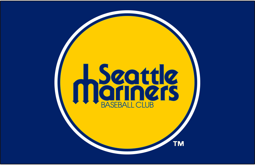 Seattle Mariners Logo Primary Dark Logo (1977-1980) - Seattle Mariners original primary logo on royal blue SportsLogos.Net