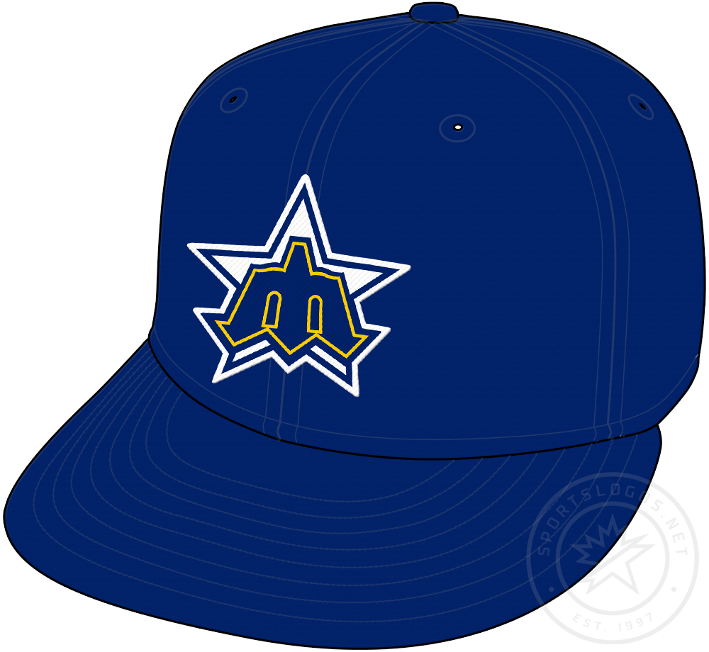 Seattle Mariners Cap Cap (1981-1986) - Pitchfork blue M on a star, originally the 1979 MLB All-Star Game logo, worn as home and road cap from Seattle Mariners 1981 season until end of 1986 SportsLogos.Net