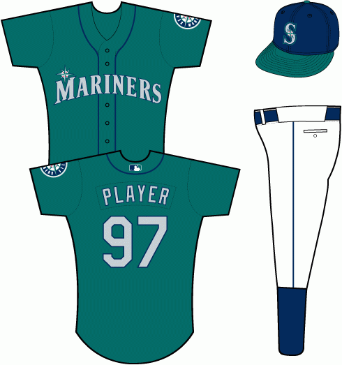 Seattle Mariners Uniform Alternate Uniform (2012-Pres) - Mariners in silver with a blue outline on a teal uniform with navy piping, primary logo patch on left sleeve. Cap with teal bill added for 2012 season SportsLogos.Net