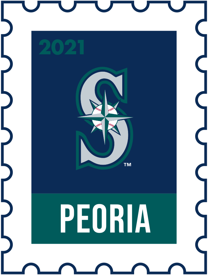 Seattle Mariners Logo Event Logo (2021) - The Seattle Mariners 2021 Spring Training logo, the design follows a league-wide style using a postage stamp in team colours with the team logo in the middle. SportsLogos.Net