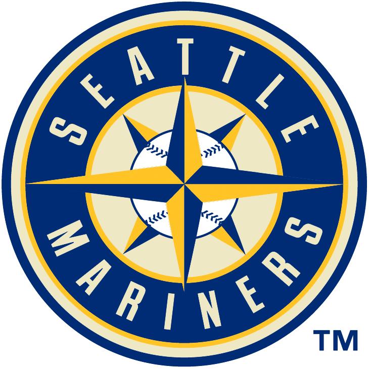 Seattle Mariners Logo Alternate Logo (2015-Pres) - Mariners primary logo recoloured in blue, yellow, and cream. Worn on sleeve of Sunday home alternate uniform SportsLogos.Net