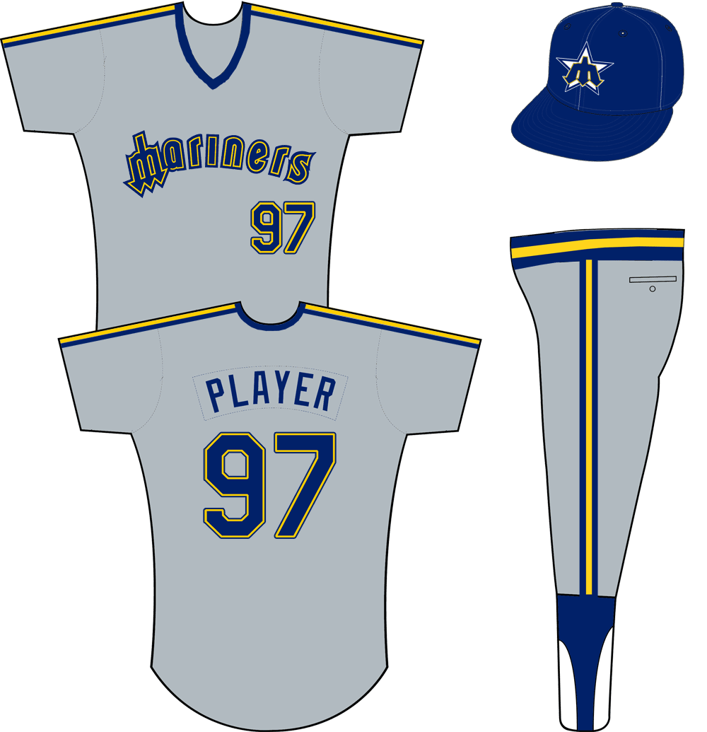 Seattle Mariners Uniform Road Uniform (1985-1986) - Mariners in blue and yellow with a trident for an M, blue and yellow stripes on each shoulder. Pullover jersey with elastic waistband pants. SportsLogos.Net