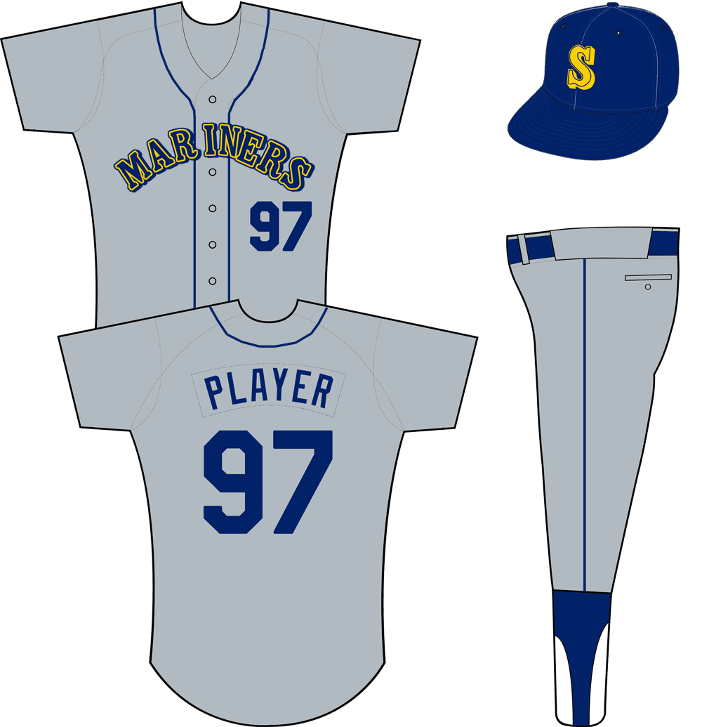 Seattle Mariners Uniform Road Uniform (1987-1992) - Mariners arched in blue, yellow, and blue on a grey jersey with blue piping down the front, a blue cap with yellow S on the front worn with this uniform. Player name and number are single colour blue SportsLogos.Net
