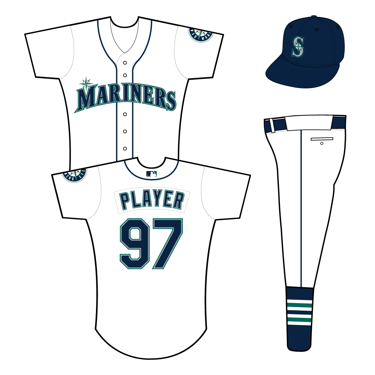 Seattle Mariners Uniform Home Uniform (2015-Pres) - Mariners in navy with silver and green outlines on a white uniform with navy piping, primary logo patch on left sleeve SportsLogos.Net