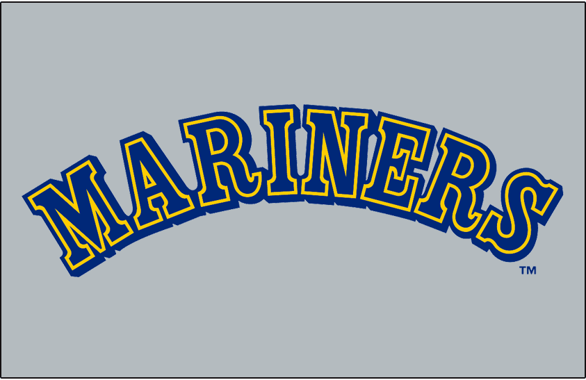 Seattle Mariners Logo Jersey Logo (1987-1992) - Mariners in blue with yellow and blue outlines and a blue drop shadow on grey. Worn on Seattle Mariners road jersey from 1987-1992 SportsLogos.Net
