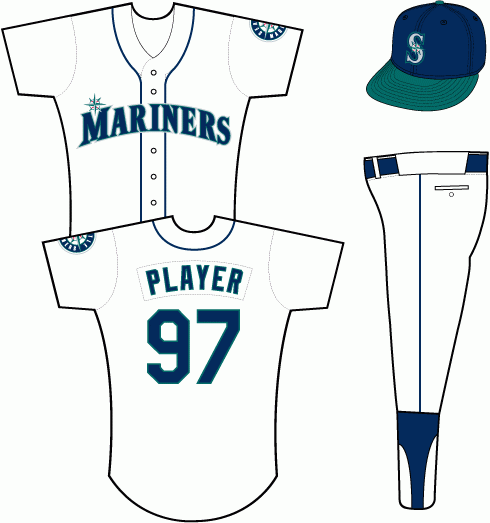Seattle Mariners Uniform Home Uniform (1993-2003) - Mariners in navy blue trimmed in teal with a compass rose above the M, a blue cap with teal bill was paired with this uniform from 1993-2003 before being replaced with an all blue cap in 2004. SportsLogos.Net