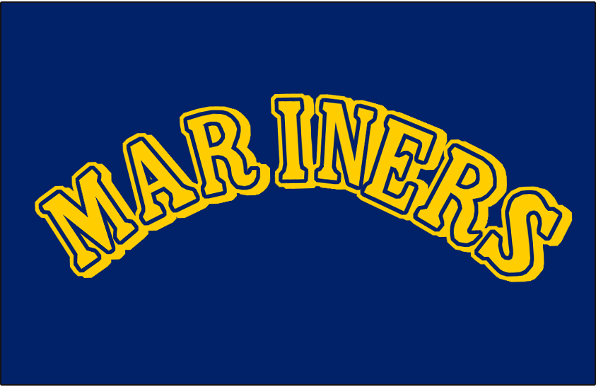 Seattle Mariners Logo Batting Practice Logo (1989-1992) - Mariners in yellow with blue and yellow outlines and a yellow drop shadow on blue. Worn on Seattle Mariners home batting practice jersey from 1989-1992 SportsLogos.Net