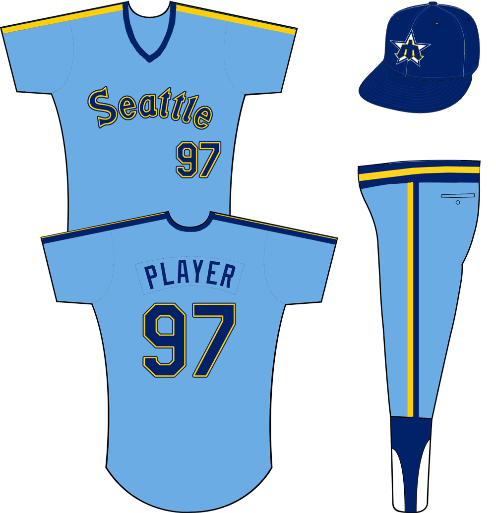 Seattle Mariners Uniform Road Uniform (1981-1984) - Seattle in blue and yellow on a powder blue jersey, blue and yellow stripes on each shoulder. Pullover jersey with elastic waistband pants. SportsLogos.Net