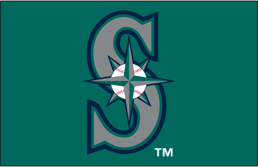 Seattle Mariners Logo Cap Logo (1994-1996) - Baseball navigation star on silver S with navy, teal and silver outlines on teal SportsLogos.Net