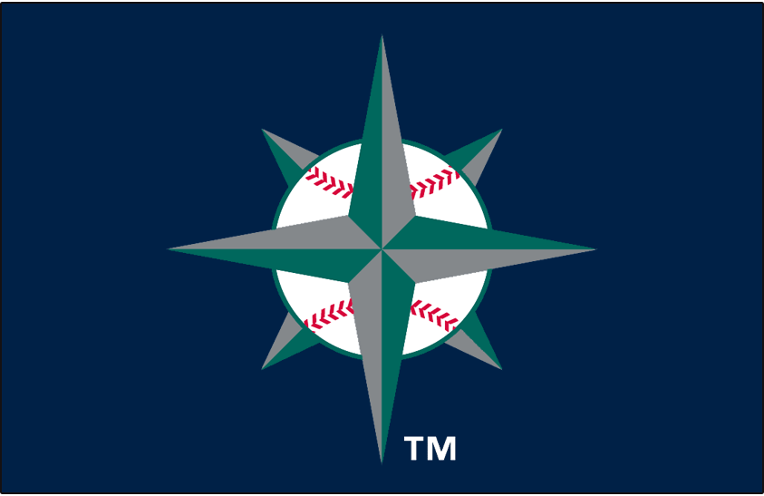 Seattle Mariners Logo Cap Logo (1997-2000) - Teal and silver navigation star in a baseball on navy, worn on Mariners alternate cap (continued to be worn on the Mariners BP cap through 2015) SportsLogos.Net