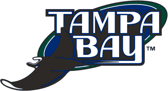 Tampa Bay Devil Rays Logo Primary Logo (2001-2007) - Tampa Bay in white with devil ray on blue and green oval SportsLogos.Net