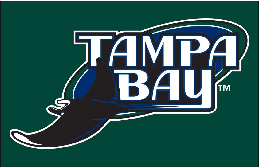 Tampa Bay Devil Rays Logo Primary Dark Logo (2001-2007) - Tampa Bay Devil Rays logo on green SportsLogos.Net