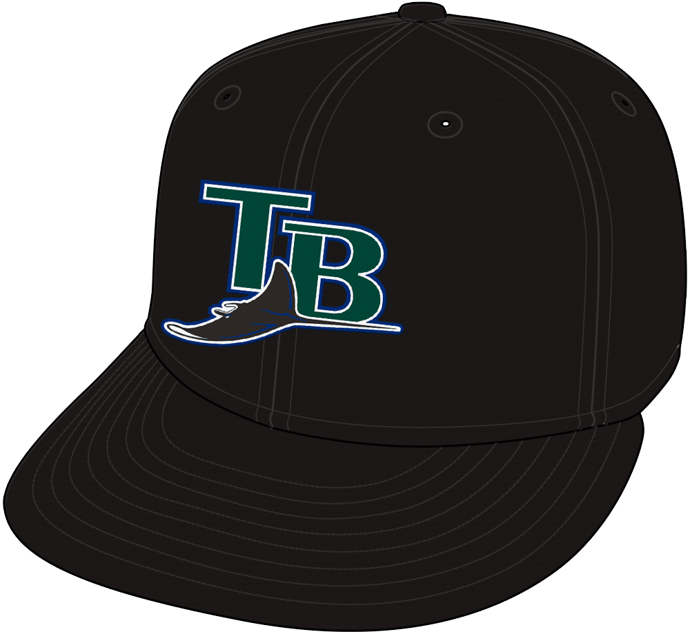 Tampa Bay Devil Rays Cap Cap (2001-2004) - Tampa Bay Devil Rays home and road all-black cap SportsLogos.Net