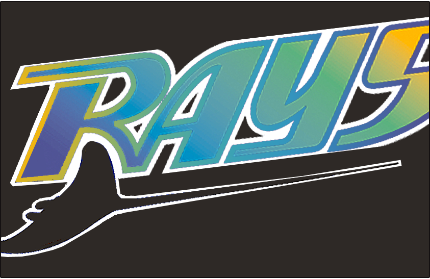 Tampa Bay Devil Rays Logo Special Event Logo (1999) - RAYS in a multi-coloured gradient above a swimming devil ray with no details. RAYS is outlined in a gradient trim and the S is partially cut-off. This wordmark was worn on the front of the Tampa Bay Devil Rays Turn Ahead the Clock jerseys, which they wore for one game only, on August 14, 1999 at Kansas City SportsLogos.Net