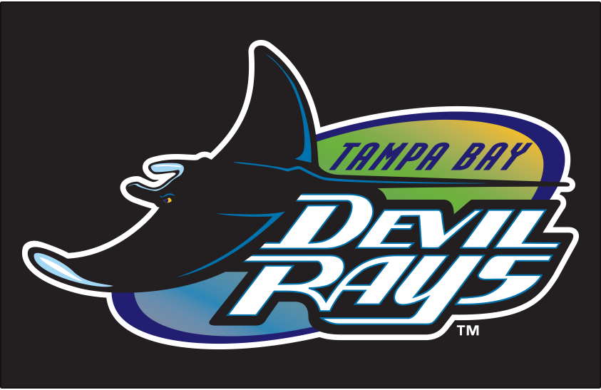 Tampa Bay Devil Rays Logo Primary Dark Logo (1998-2000) - Tampa Bay Devil Rays original logo on black SportsLogos.Net