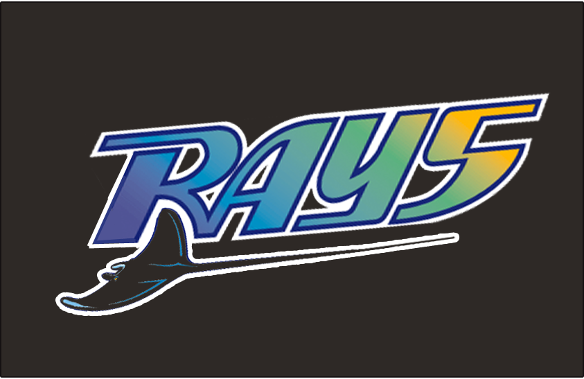 Tampa Bay Devil Rays Logo Batting Practice Logo (1999-2000) - RAYS in a multi-coloured gradient with a black devil ray swimming below on black. Worn on the Tampa Bay Devil Rays batting practice cap from 1999 to 2000 SportsLogos.Net