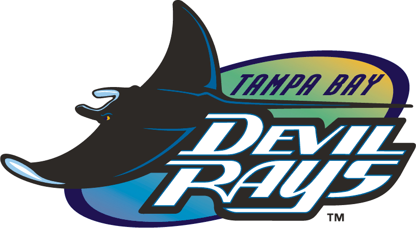 Tampa Bay Devil Rays Logo Primary Logo (1998-2000) - A devil ray floating across a rainbow gradiant in an oval SportsLogos.Net