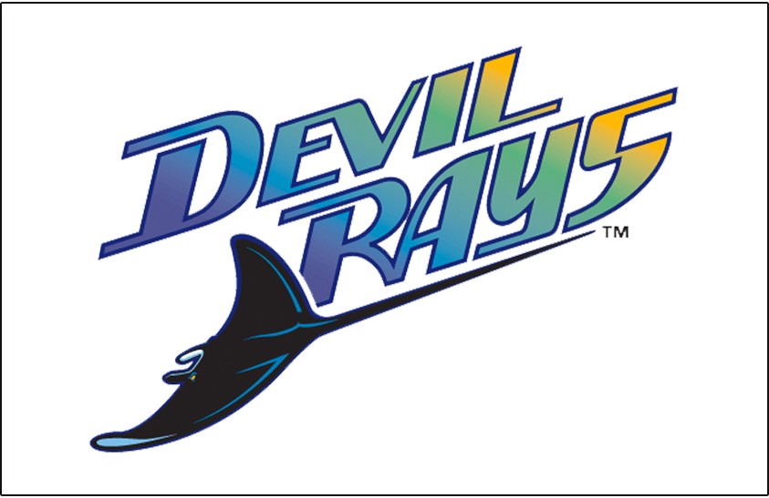 Tampa Bay Devil Rays Logo Jersey Logo (1998-2000) - Devil Rays diagonal with a purple to blue to green to yellow gradient inside the wordmark. A devil ray swimming below in black and blue. Worn on the Tampa Bay Devil Rays home white uniforms from 1998 through 2000 seasons SportsLogos.Net