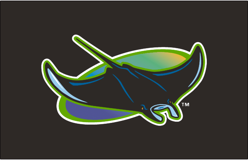 Tampa Bay Devil Rays Logo Cap Logo (1998-2000) - A devil ray in a rainbow gradient oval, worn on the Tampa Bay Devil Rays alternate caps (very rarely) between 1998 and 2000 seasons. SportsLogos.Net