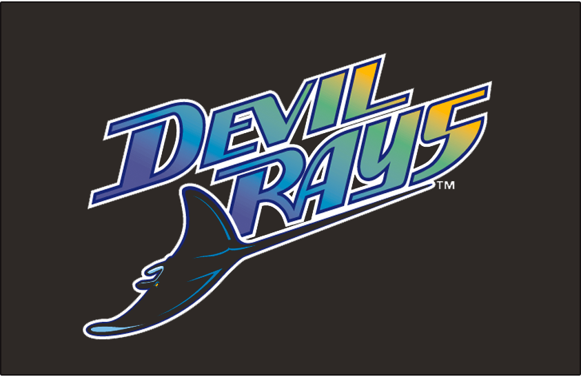 Tampa Bay Devil Rays Logo Jersey Logo (1998-2000) - Devil Rays diagonal with a purple to blue to green to yellow gradient inside the wordmark. A devil ray swimming below in black and blue. Worn on the Tampa Bay Devil Rays black alternate uniforms from 1998 through 2000 seasons SportsLogos.Net
