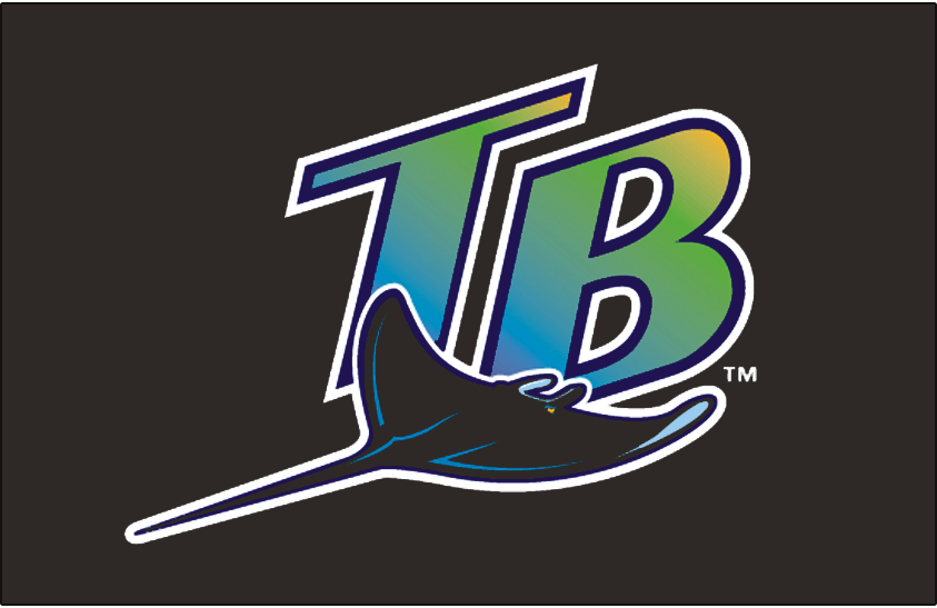 Tampa Bay Devil Rays Logo Cap Logo (1998-2000) - A blue-to-green-to-yellow gradient inside a diagonal TB with a devil ray swimming below it. Worn on the Tampa Bay Devil Rays home and road caps for their first three seasons, beginning in 1998 and continuing until the end of the 2000 season SportsLogos.Net