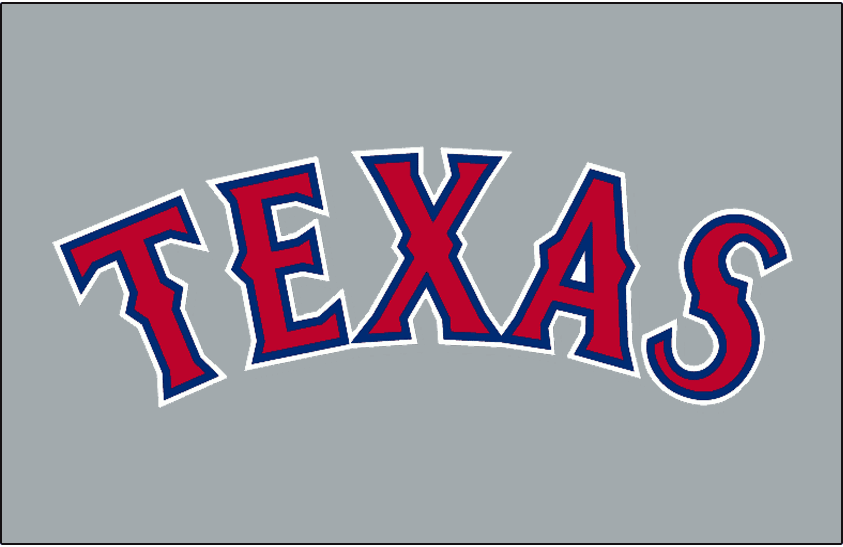 Texas Rangers Logo Jersey Logo (1995-1999) - Texas arched in red with blue and white outlines on grey. Worn on the Texas Rangers road grey uniform from 1995 to 1999 SportsLogos.Net