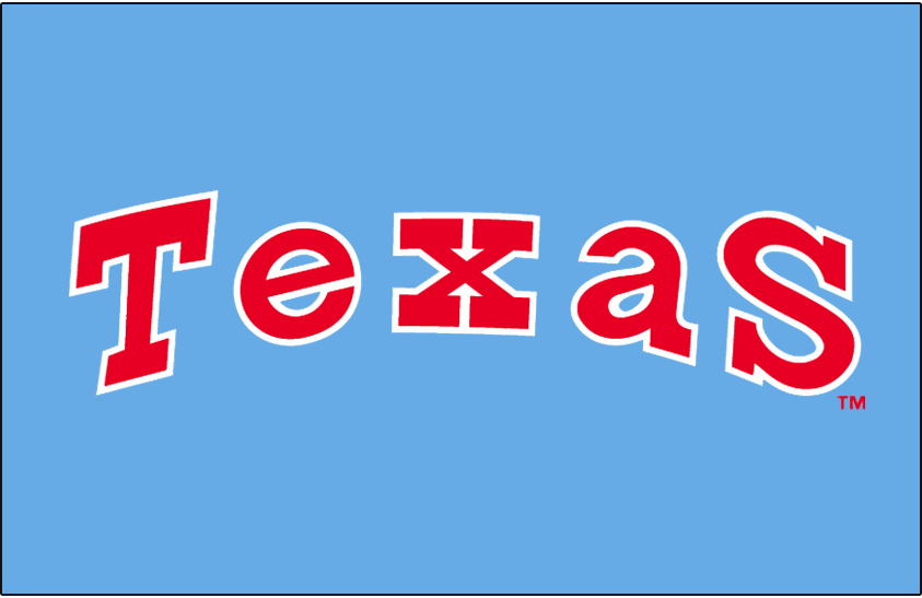 Texas Rangers Logo Jersey Logo (1976-1982) - Texas in red with white outline on powder blue, worn on Texas Rangers road uniform from 1976 until 1982 season SportsLogos.Net