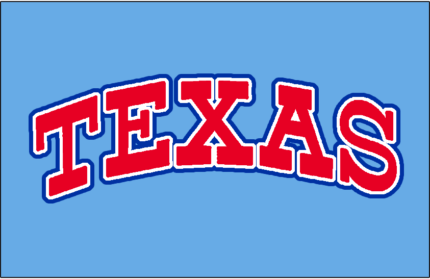 Texas Rangers Logo Jersey Logo (1975) - Texas in all caps in red with white and blue outlines on powder blue. Worn on the Texas Rangers road jersey during the 1975 season only SportsLogos.Net