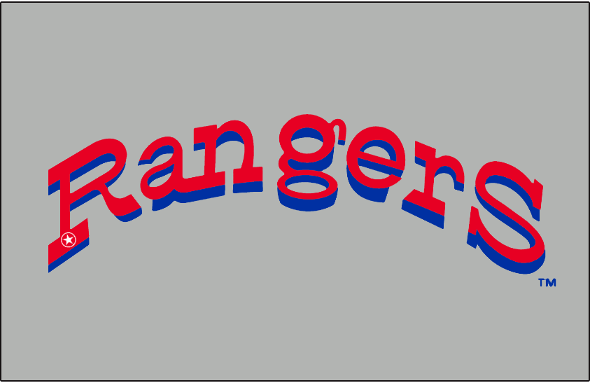 Texas Rangers Logo Jersey Logo (1972-1974) - Rangers in red with a blue drop shadow arched, a small white police badge-style star on the R. Worn on the front of the Texas Rangers road uniform from their first season in 1972 through the end of 1974 SportsLogos.Net