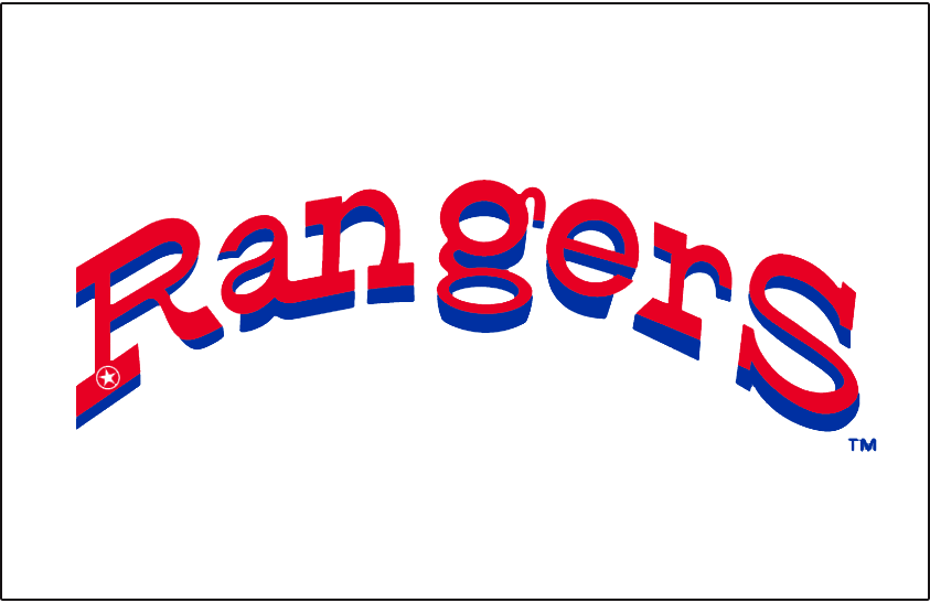 Texas Rangers Logo Jersey Logo (1972-1982) - Rangers in red with blue drop shadow, a small white police badge styled star in the corner of the R. Worn on Texas Rangers home white jersey from 1972 through 1982 SportsLogos.Net