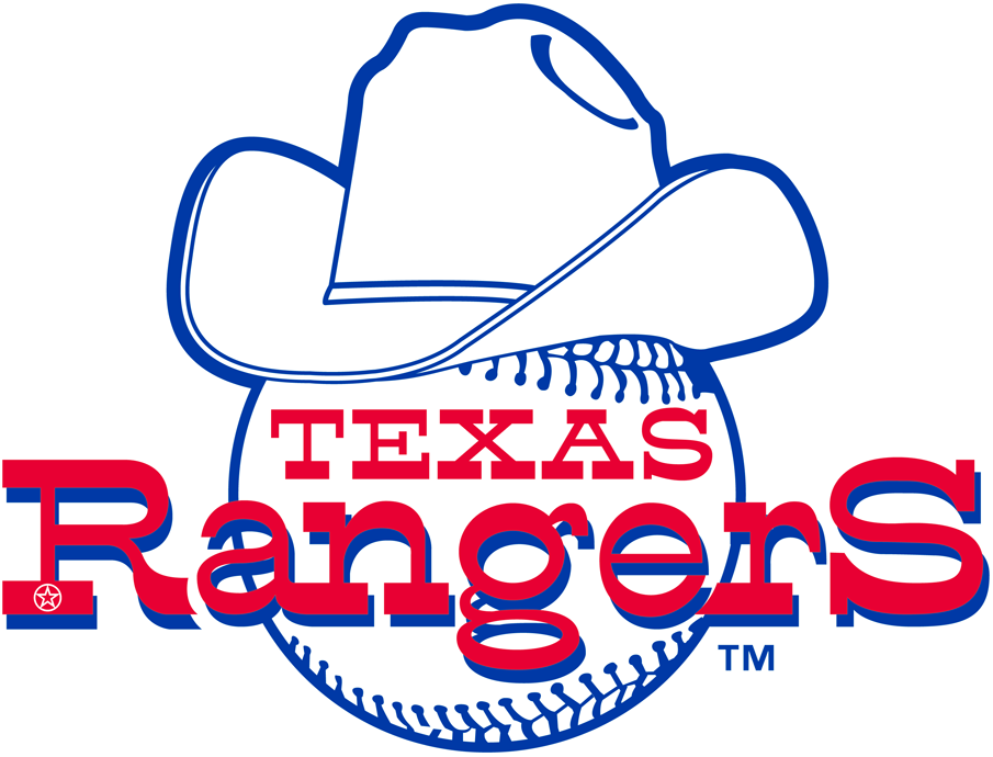 Texas Rangers Logo Primary Logo (1972-1980) - Rangers written across a baseball wearing a cowboy hat, drop shadow behind lettering removed for 1981 SportsLogos.Net