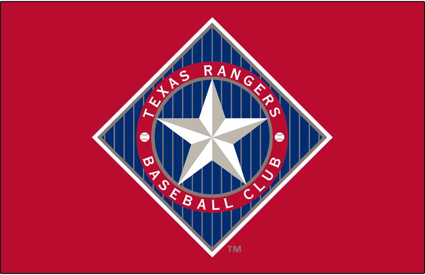Texas Rangers Logo Primary Dark Logo (1994-2002) - Texas Rangers primary logo on red background SportsLogos.Net