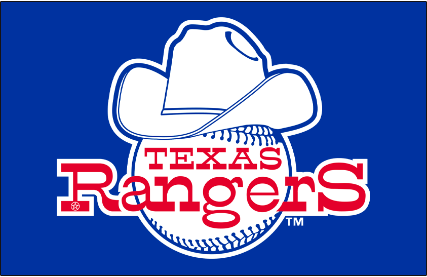 Texas Rangers Logo Primary Dark Logo (1981) - Texas Rangers primary logo on blue background SportsLogos.Net