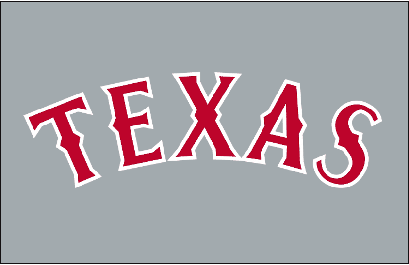 Texas Rangers Logo Jersey Logo (1994) - TEXAS in red with white trim arched on grey. Worn on the Texas Rangers road jersey for the 1994 season only -- a blue outline was added for 1995 SportsLogos.Net