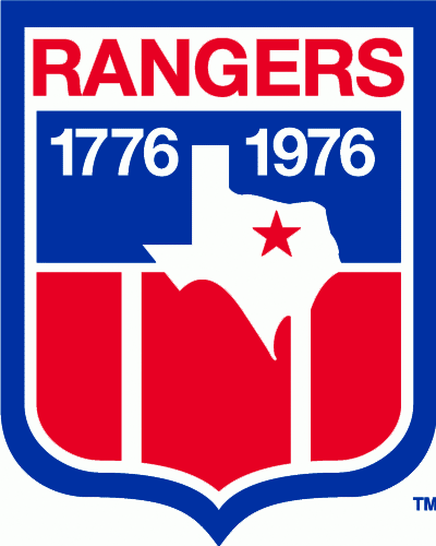 Texas Rangers Logo Misc Logo (1976) - Logo celebrating the bicentennial of the United States. Shows the State of Texas on a shield in red, white, and blue with 1776 1976 around it and the team name above. This logo was worn as a patch on the sleeve of the Texas Rangers uniforms during the 1976 season, in 1977 the years were removed and was continued to be worn until 1980. SportsLogos.Net