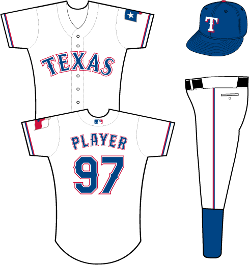 Texas Rangers Uniform Home Uniform (2014-Pres) - Texas in blue with white and red outlines on a white uniform with blue and red sleeve piping, Texas flag patch on left sleeve SportsLogos.Net