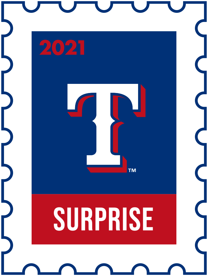 Texas Rangers Logo Event Logo (2021) - The Texas Rangers 2021 Spring Training logo, the design follows a league-wide style using a postage stamp in team colours with the team logo in the middle. SportsLogos.Net