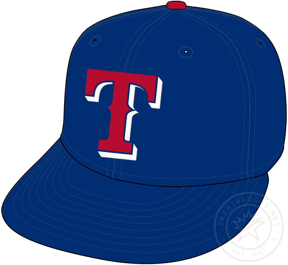 Texas Rangers Cap Cap (2000-2008) - Red T on blue cap with blue visor and red button, worn as a Texas Rangers alternate cap (mostly on the road) from 2000 to 2008 SportsLogos.Net