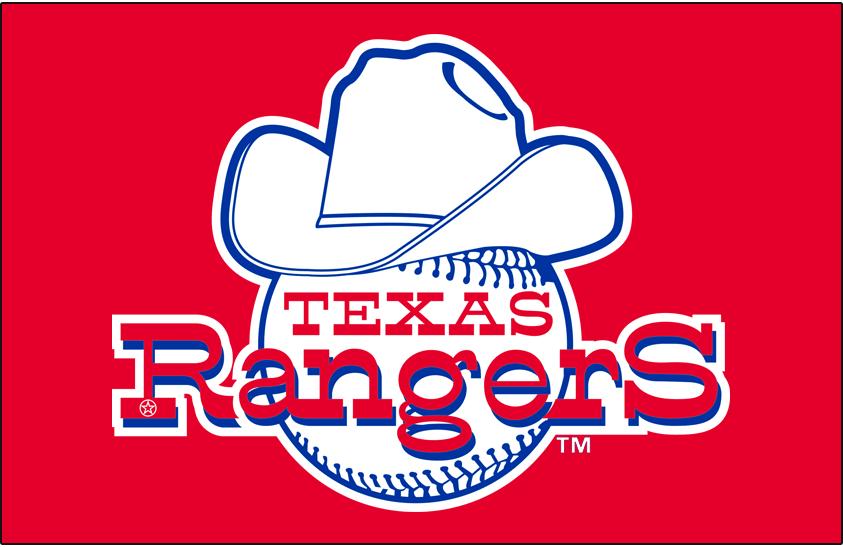 Texas Rangers Logo Primary Dark Logo (1972-1980) - Texas Rangers primary logo on blue background SportsLogos.Net
