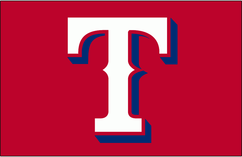 Texas Rangers Logo Cap Logo (1994-2000) - A white T with blue drop shadow on red, worn on the Texas Rangers home and road caps from 1994 to 1999 and then on just the home cap only in 2000. Revived as an alternate cap for the 2009 season SportsLogos.Net