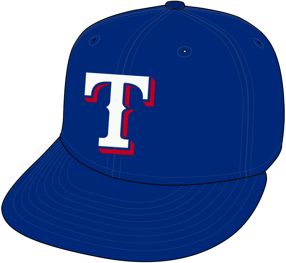 Texas Rangers Cap Cap (2000-Pres) - White T with red drop shadow on blue cap, worn for home and road Texas Rangers games since 2001, was road only cap in 2000 SportsLogos.Net