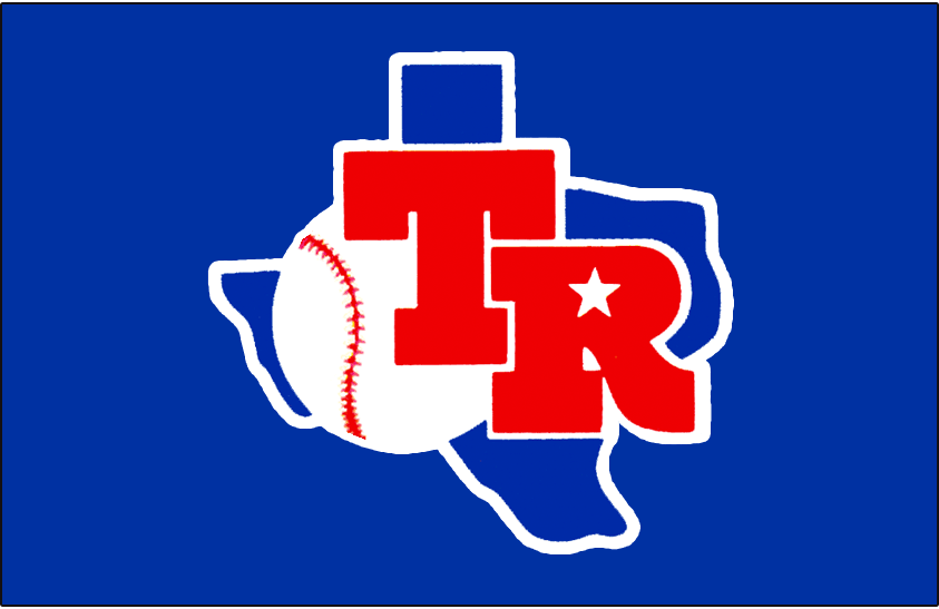Texas Rangers Logo Batting Practice Logo (1982-1983) - TR in red on a blue state of Texas. Worn on the front of the Texas Rangers blue batting practice jersey in 1982 and 1983 SportsLogos.Net
